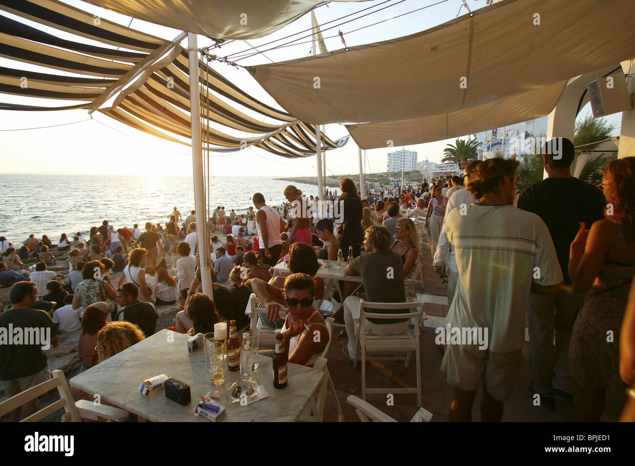 Sunset at Café del Mar, Ibiza, Balearic Island, Spain - Stock Image