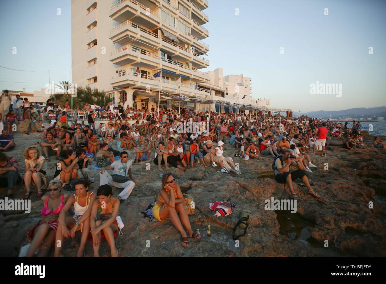 Sunset at Café del Mar Ibiza, Balearic Island, Spain - Stock Image