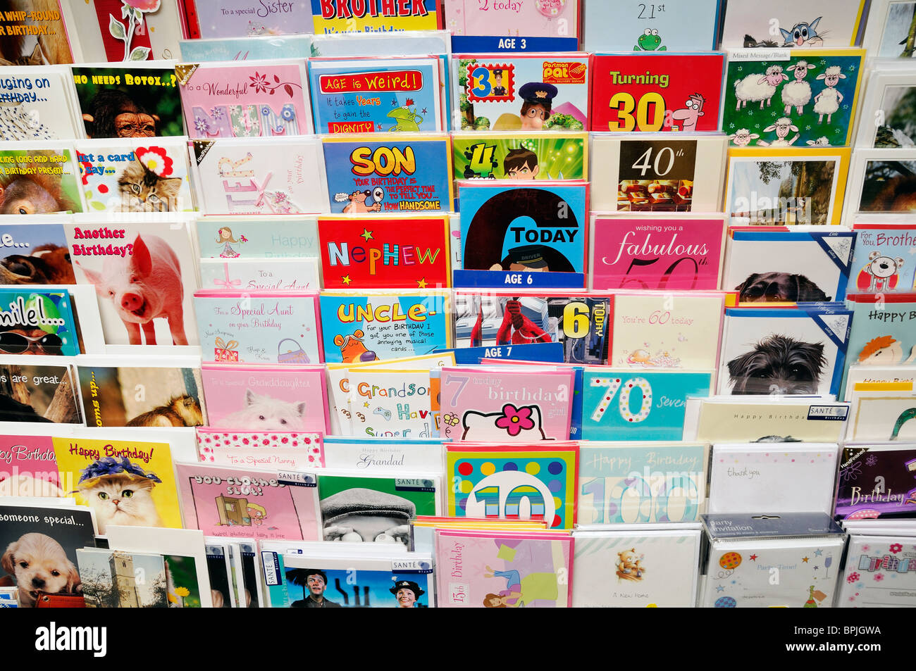 Birthday Cards in a Newsagents, England, UK. - Stock Image