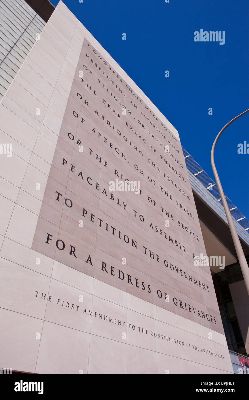 WASHINGTON, DC, USA - First Amendment of the U. S. Constitution on wall outside the Newseum, on Pennsylvania Avenue. - Stock Image