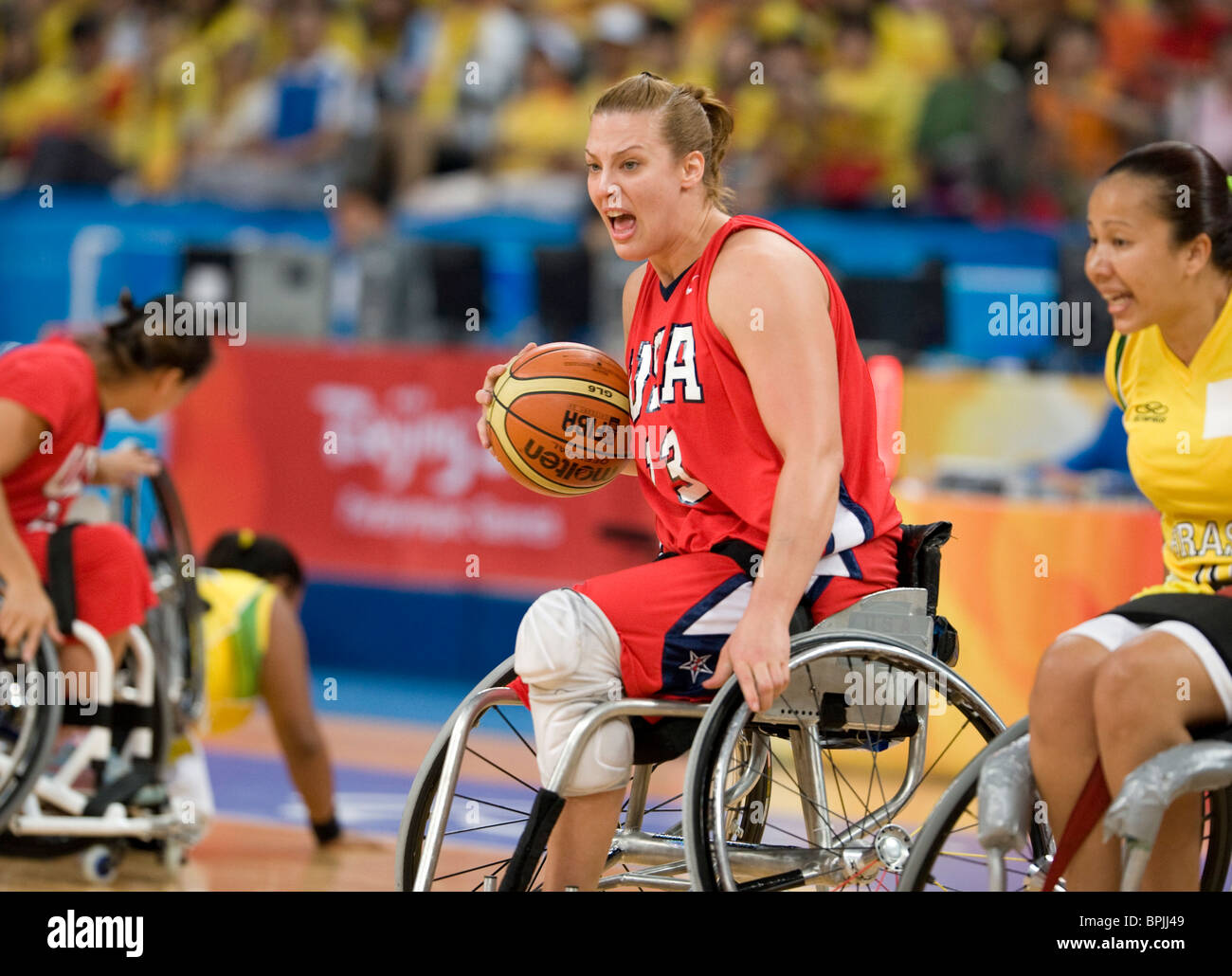 usa player loraine gonzales driving the ball against brazil in stock