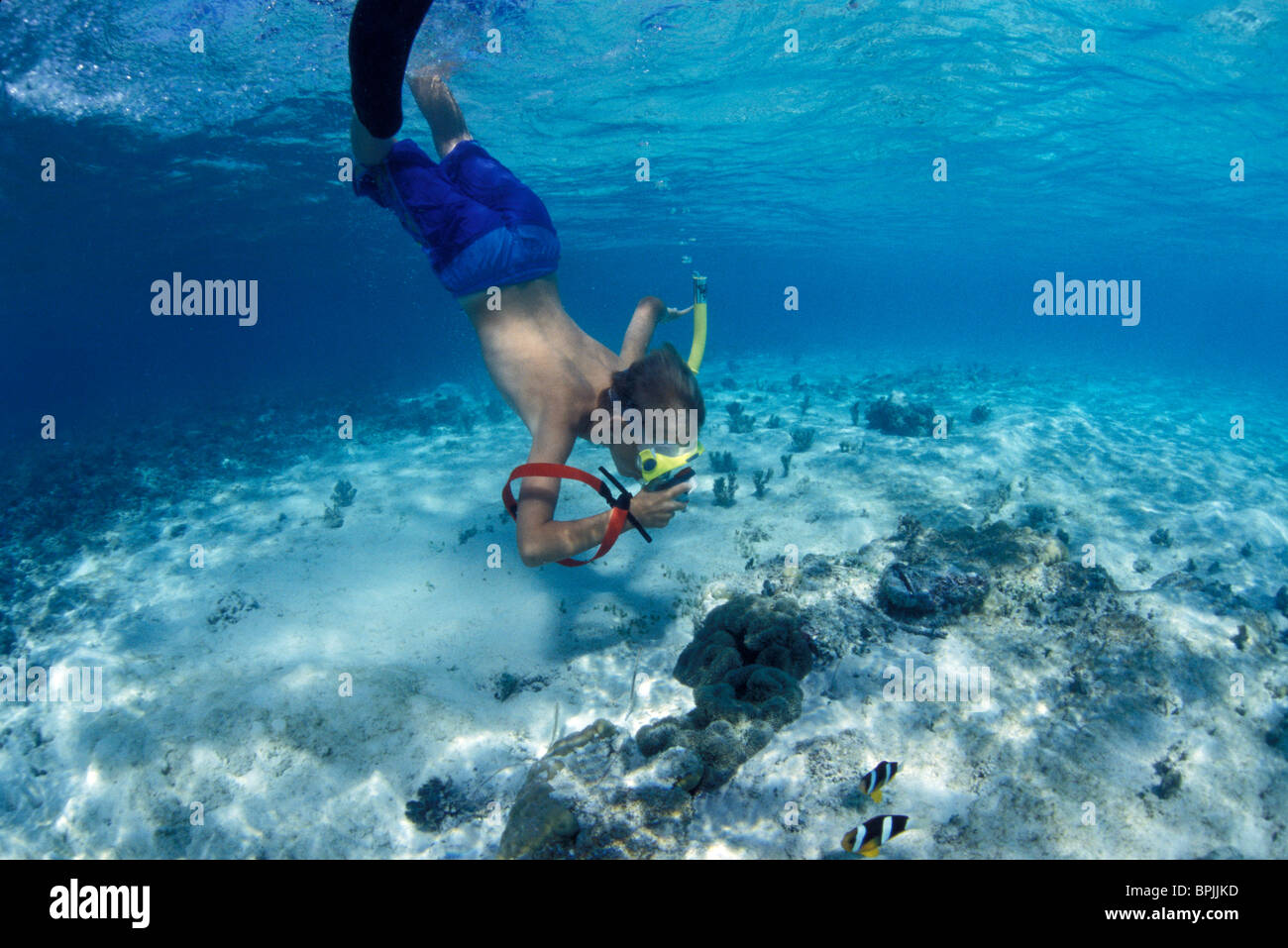 Boy Age 10 Snorkeling With Underwater Camera