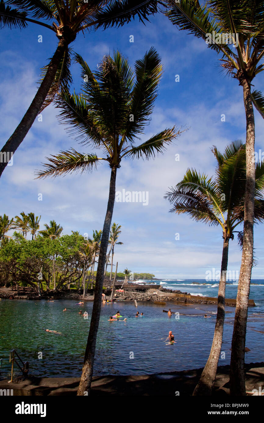 Ahalanui Park, warm springs, Puna, Island of Hawaii - Stock Image