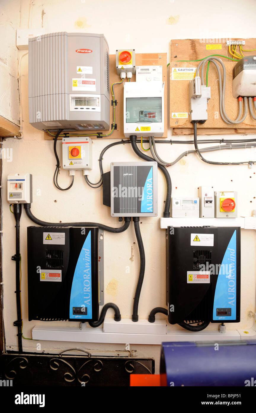 Domestic wind turbine isolator grid inverters and control boxes UK - Stock Image