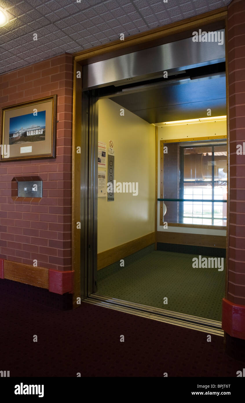 Disability access _Lift Doors at Vitalise Respite Care Centre, Southport, Merseyside, UK - Stock Image