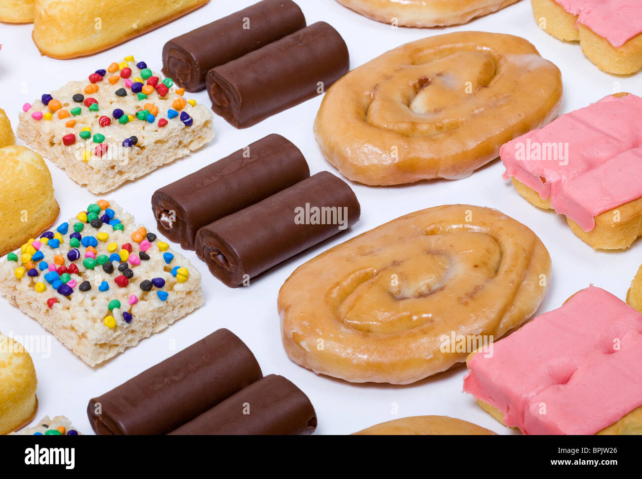 An assortment of junk food items.  - Stock Image