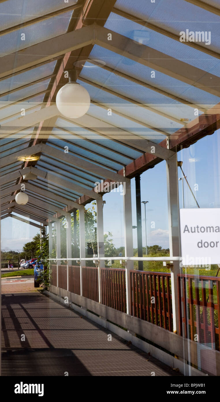 Disability access _ Entrance Reflection at Vitalise Respite Care Centre, Southport, Merseyside, UK - Stock Image