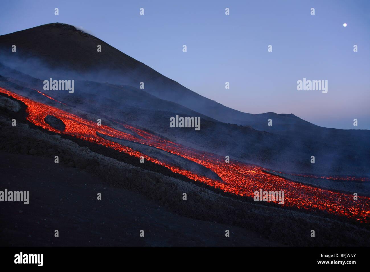 November 2, 2006 - Mount Etna lava flow in evening dawn, Sicily, Italy. - Stock Image