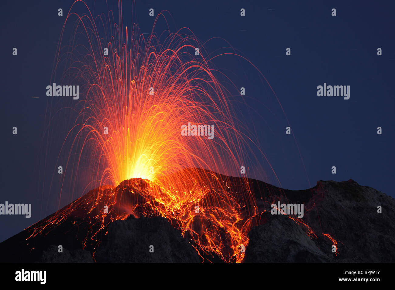 May 8, 2009 - Stromboli eruption, Aeolian Islands, north of Sicily, Italy. - Stock Image