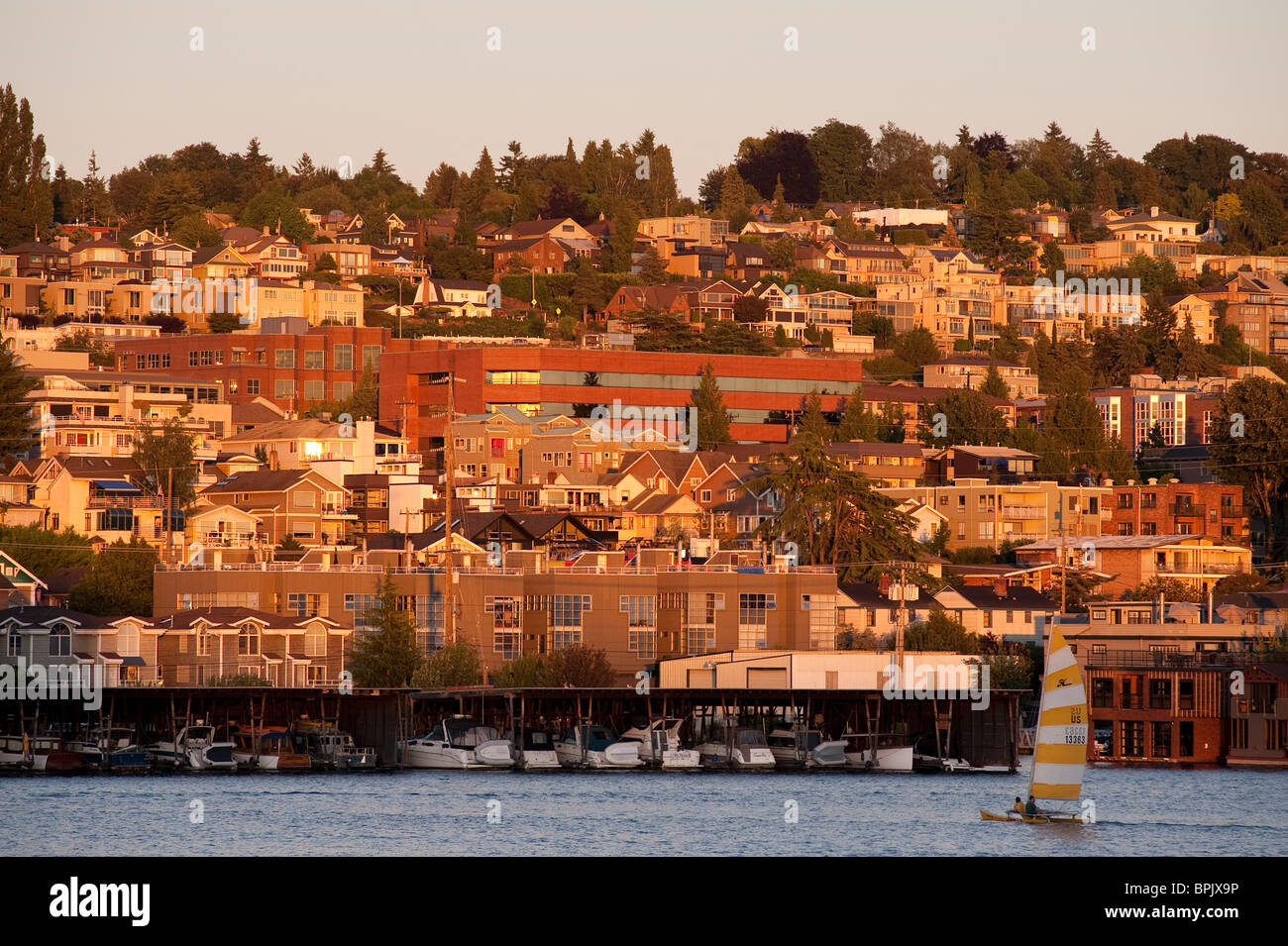 Sunset on Lake Union with sailboat with hillside neighborhood Seattle Washington State USA - Stock Image