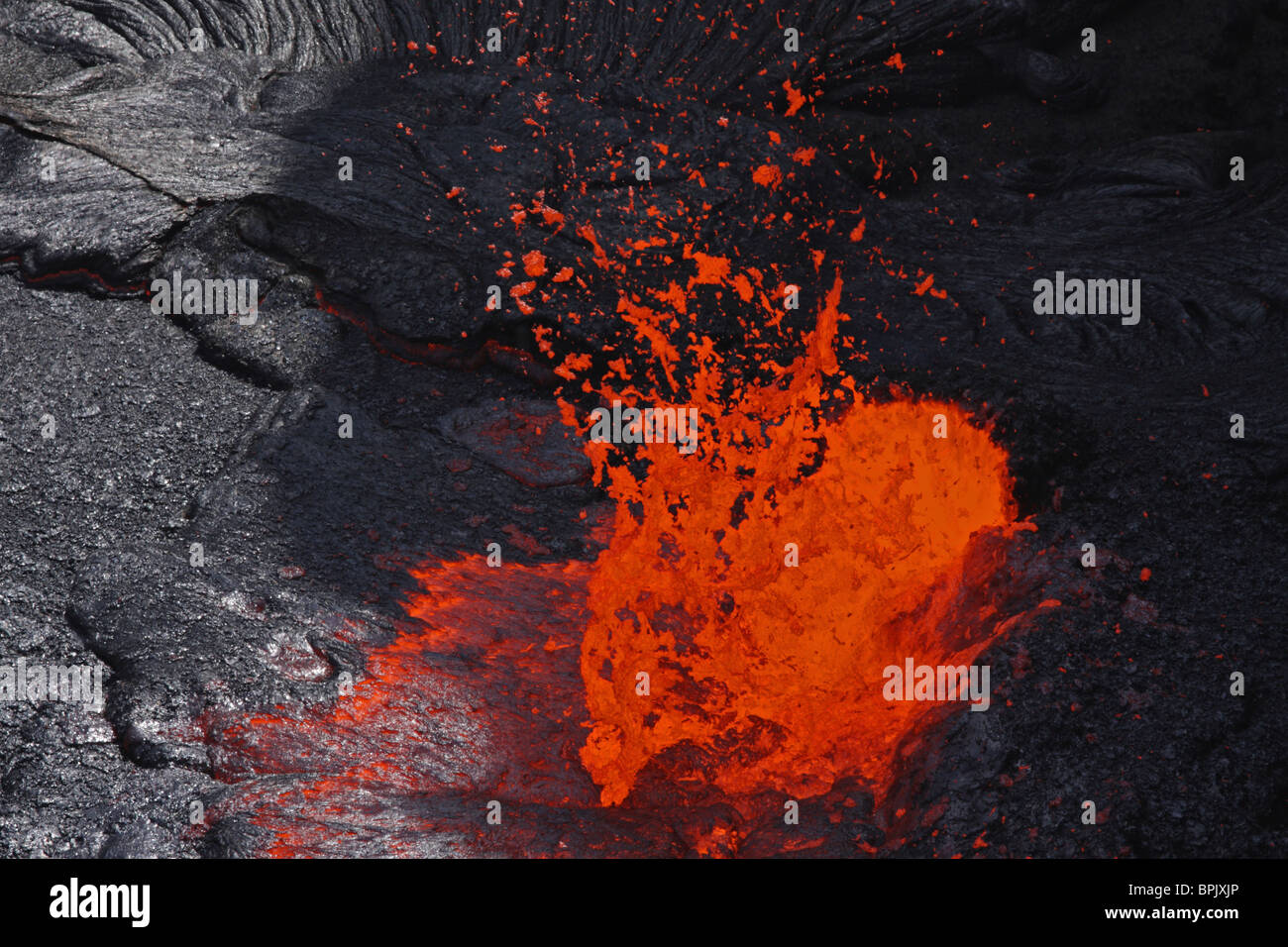 February 8, 2008 - Erta Ale fountaining lava lake, Danakil Depression, Ethiopia. - Stock Image