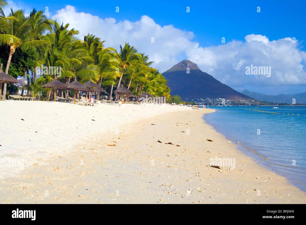 Beach at La Pirogue Hotel, Flic en Flac, Mauritius Stock Photo