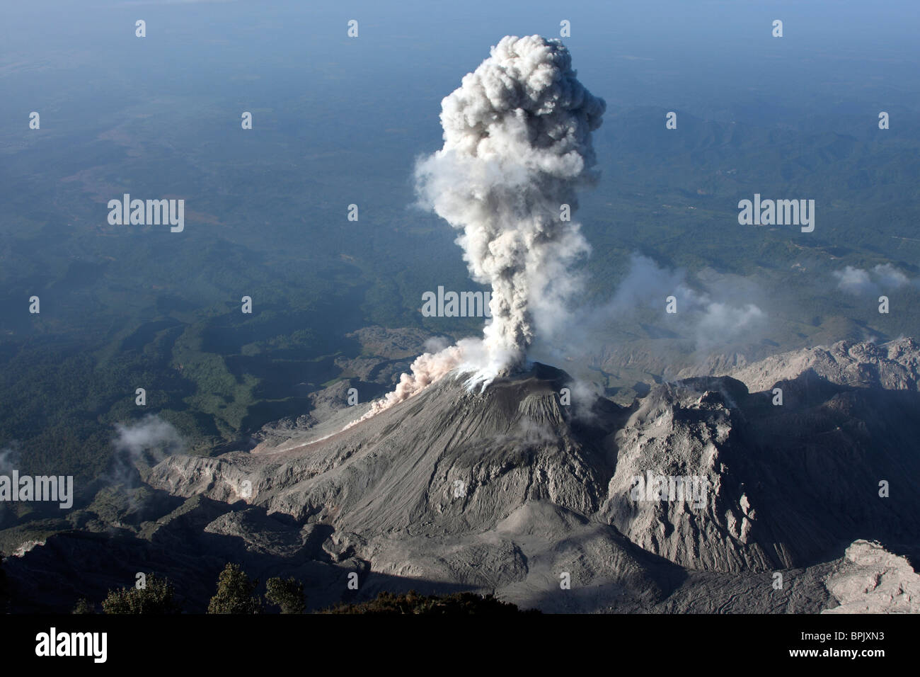 January 3, 2009 - Santiaguito ash eruption, Guatemala. - Stock Image