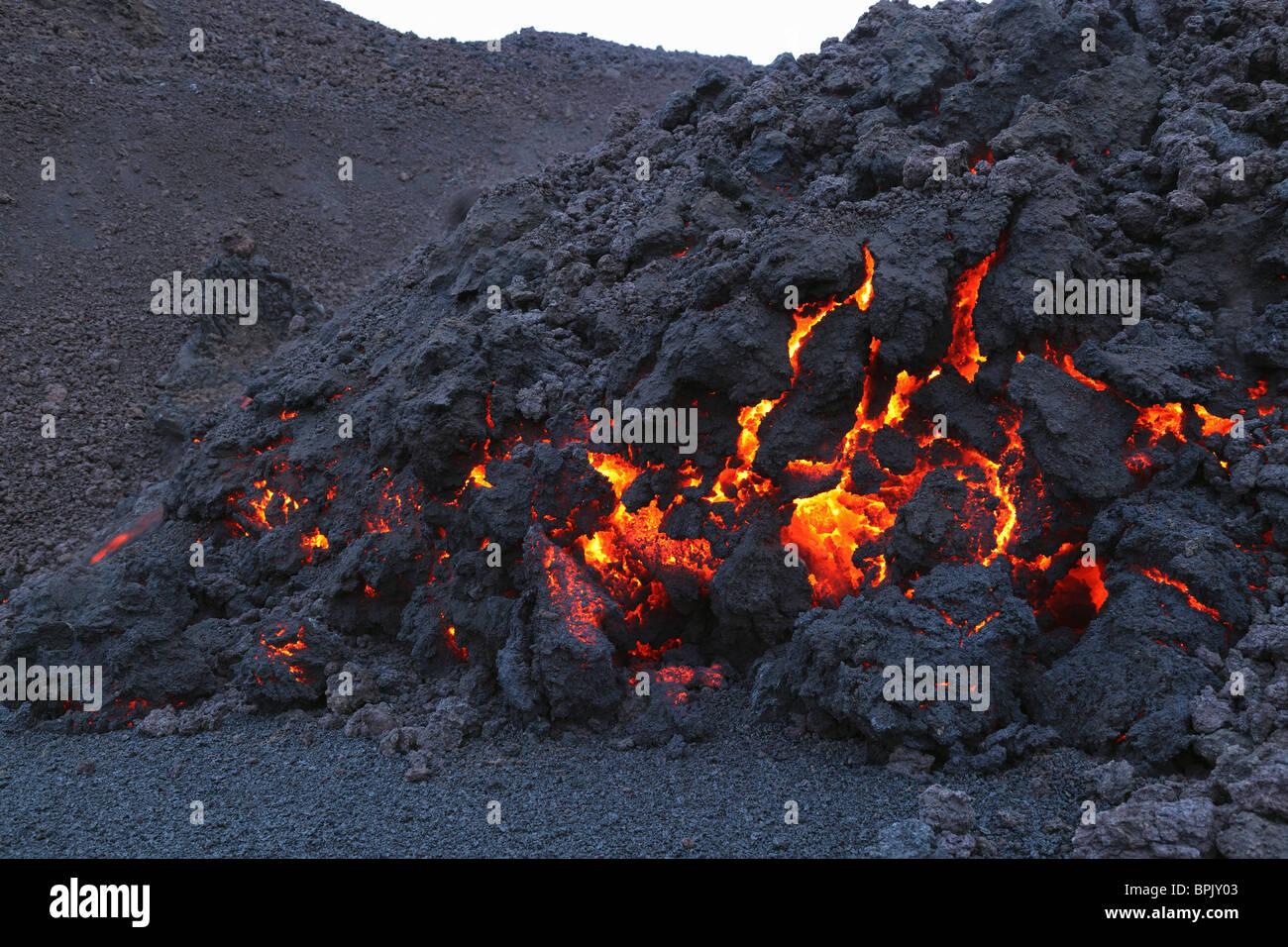 March 26, 2010 - Fimmvörduhals lava flow, Eyjafjallajökull, Iceland. - Stock Image