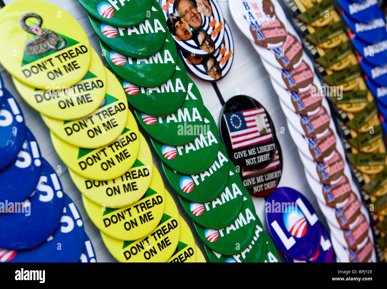 Tea Party Anti President Obama and Anti-Democrat buttons.  - Stock Image