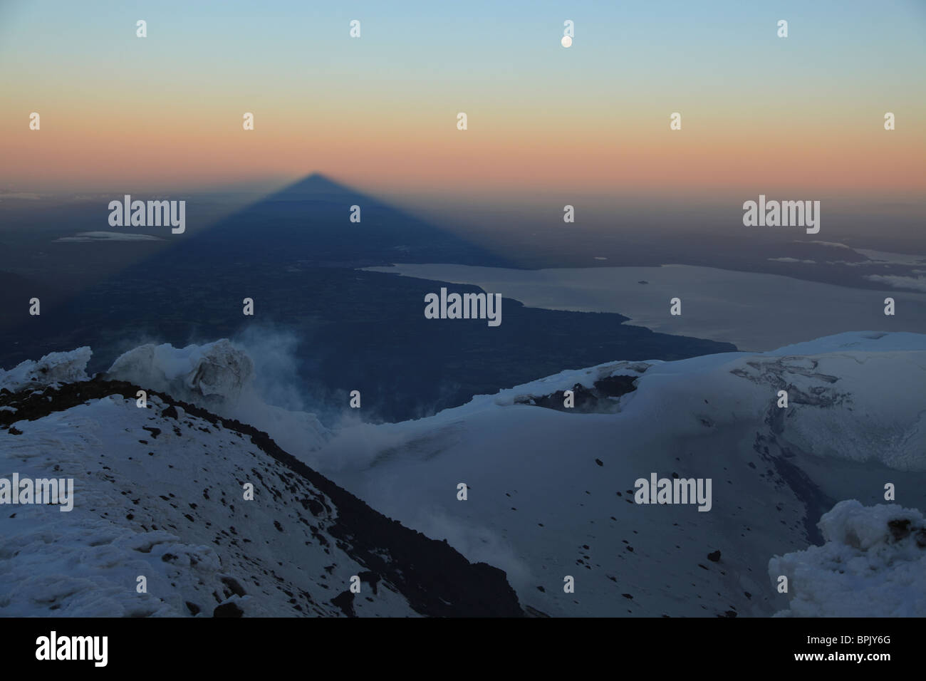 December 3, 2009 - Villarrica, summit view with shadow at sunrise, Araucania region, Chile. - Stock Image
