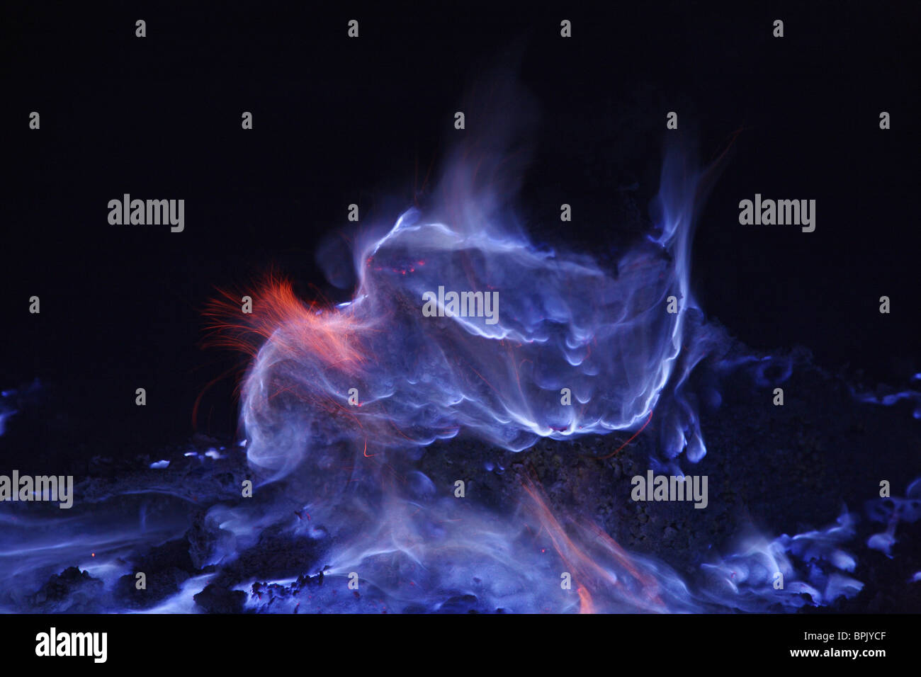 June 16, 2008 - Kawah Ijen, burning sulfur, Java Island, Indonesia. - Stock Image