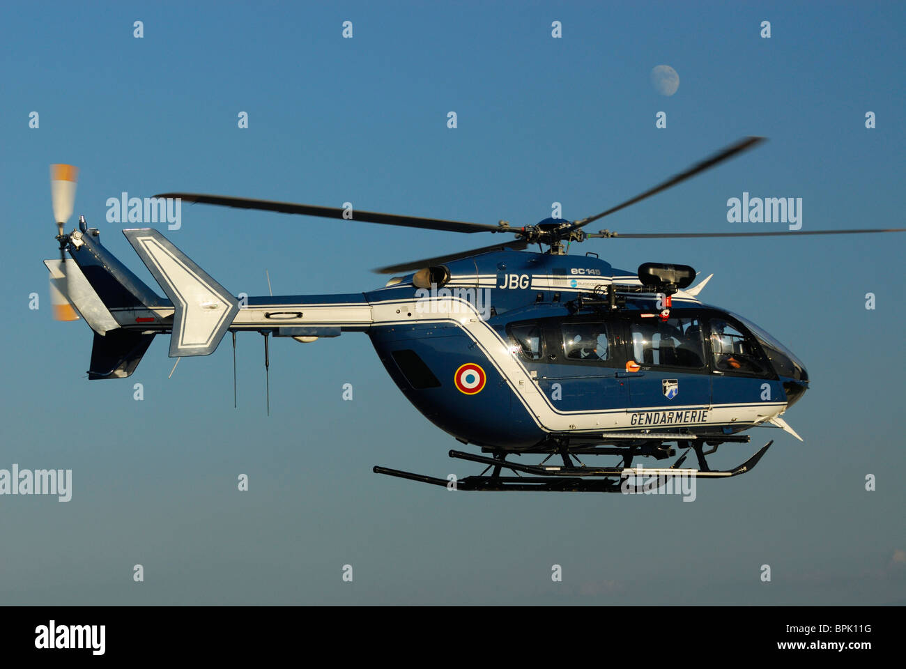 Helicopter Eurocopter EC-145 of the french Gendarmerie Police forces - Stock Image