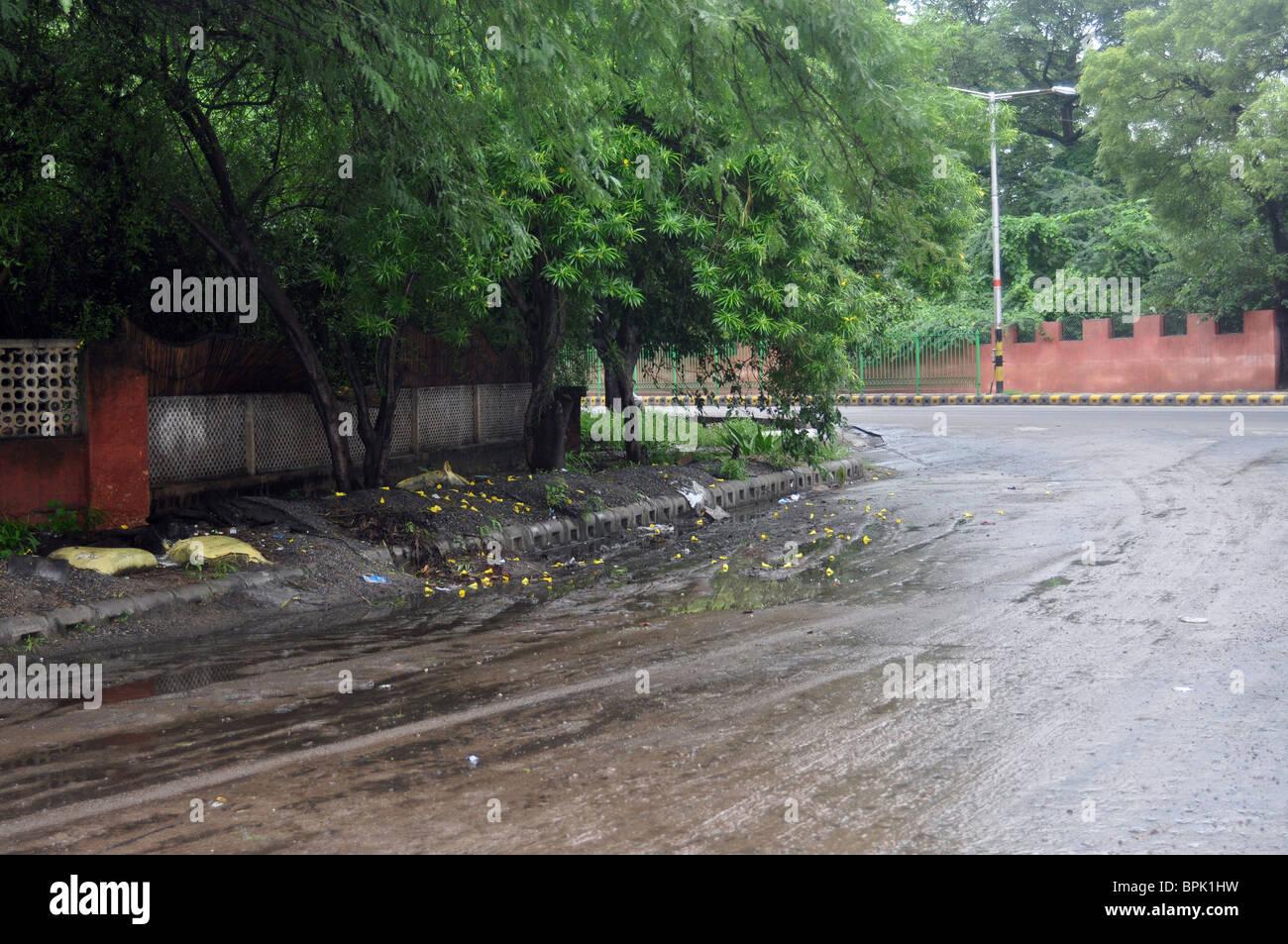 Slushy roads at New Delhi, venue of commonwealth games 2010 - Stock Image