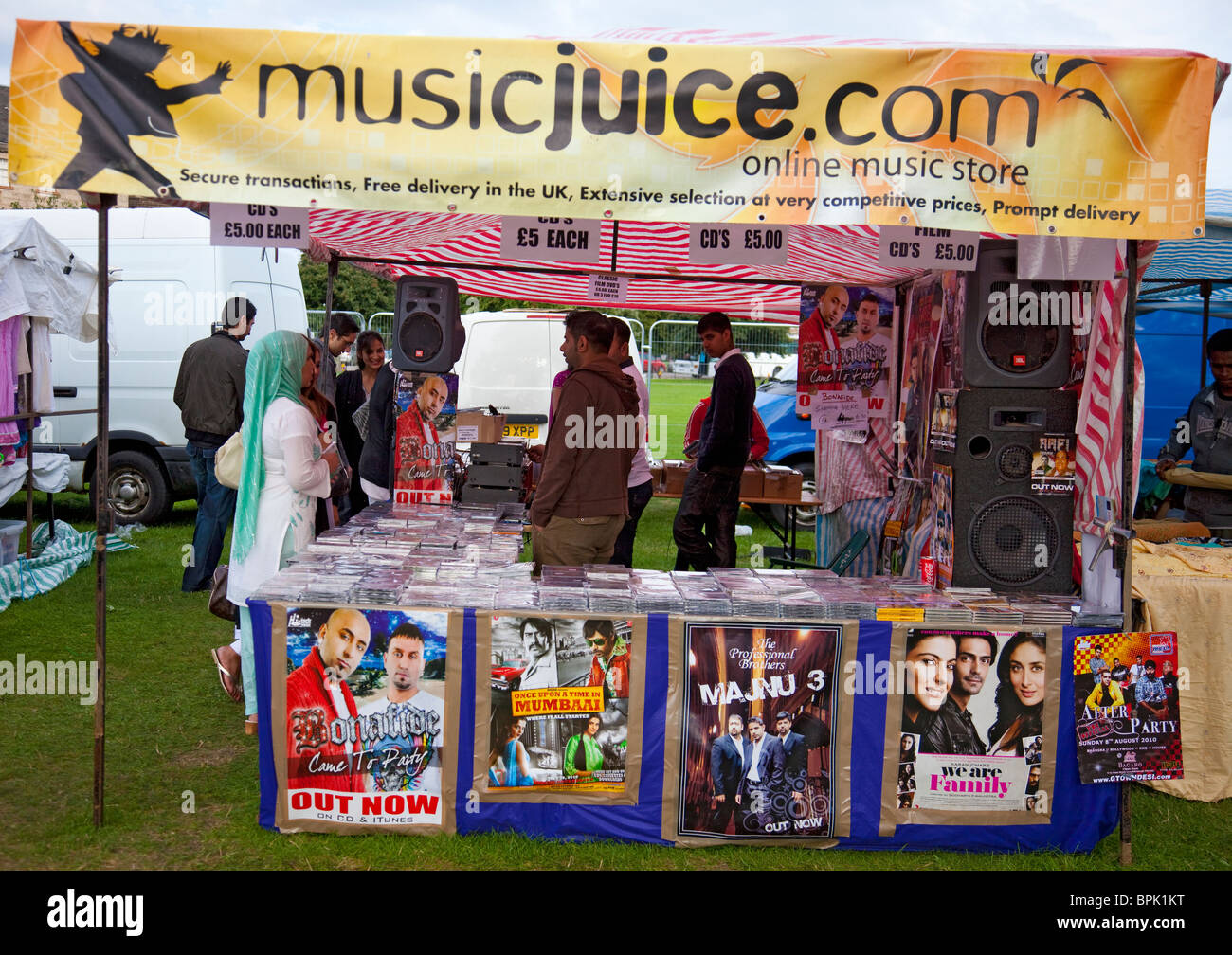 Musicjuice, a stall selling Asian music at Edinburgh Mela 2010 at Leith Links - Stock Image