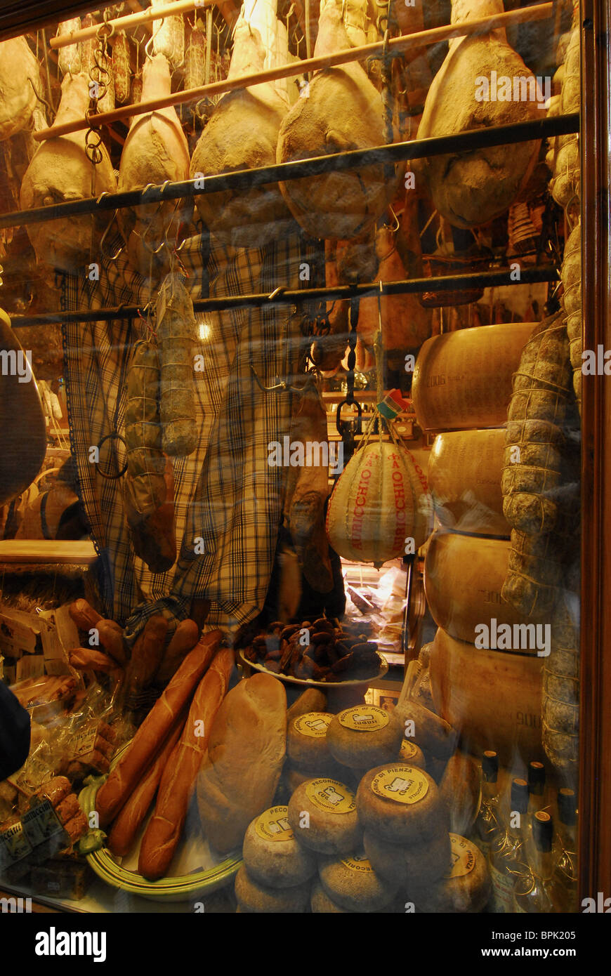 Ham and cheese in a shop window, Siena, Tuscany, Italy, Italy, Europe Stock Photo