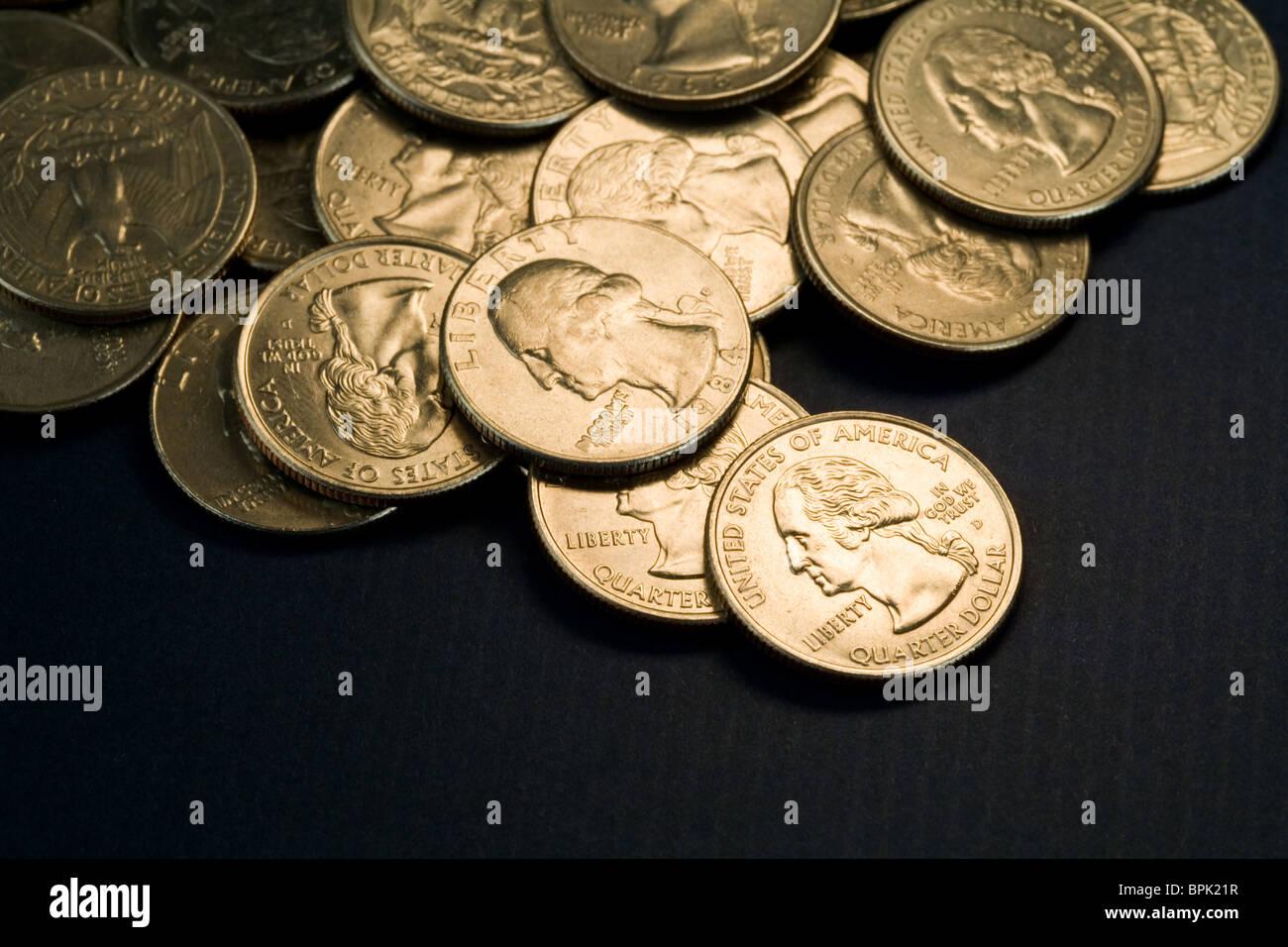 US Coins close up shot - Stock Image