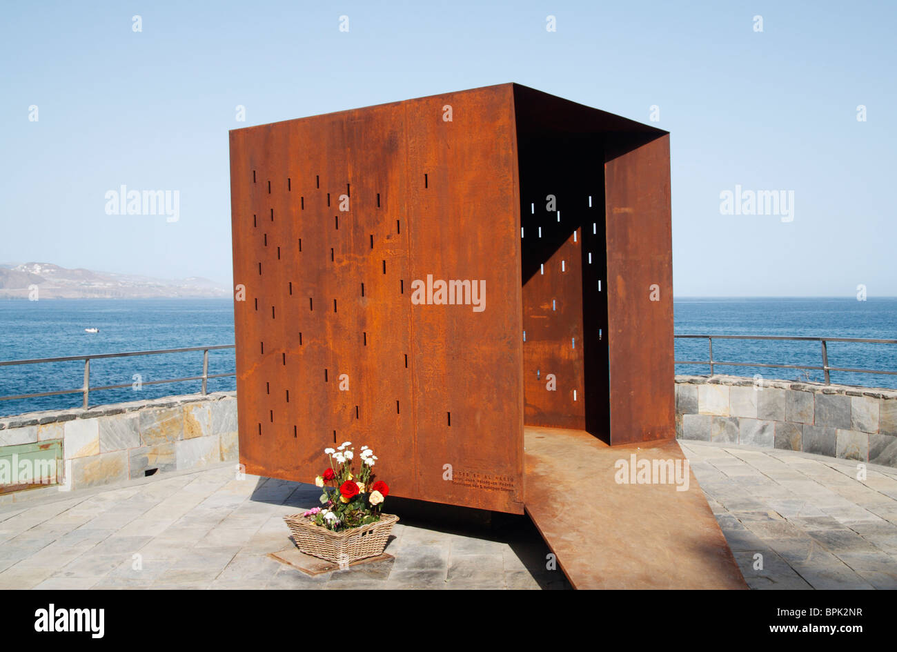 Sculpture in Las Palmas on Gran Canaria in memory of the people who died in the Spanair Madrid - Gran Canaria flight - Stock Image