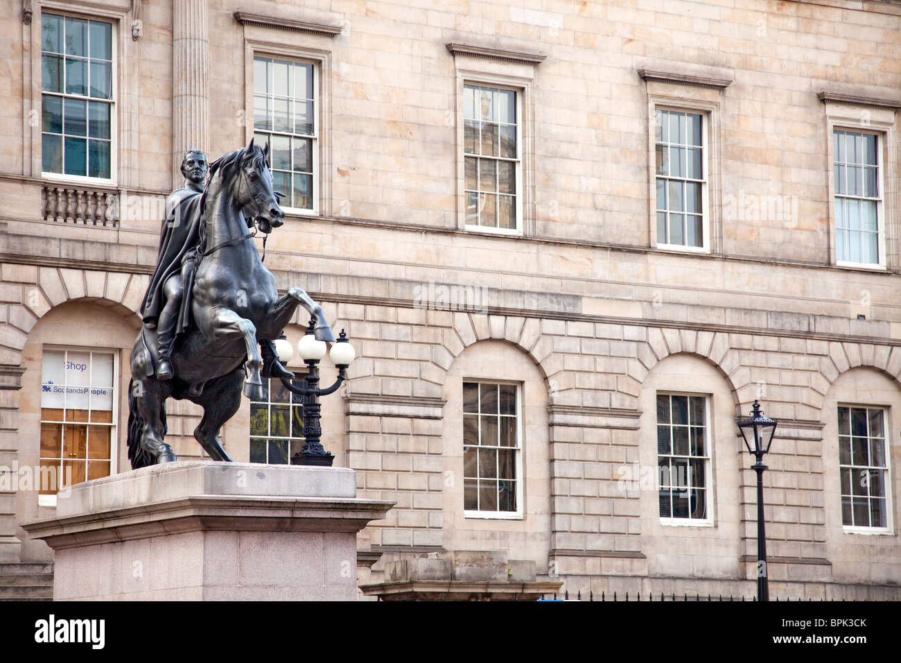 'The Iron Duke in Bronze by Steele'  an equestrian statue of the Duke of Wellington, by Sir John Steell - Stock Image