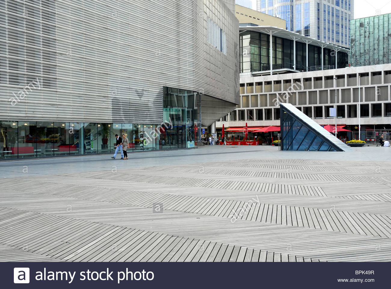 Modern architecture, Pathe cinema and De Doelen concert- and congress building at the Schouwburgplein square, Rotterdam, - Stock Image