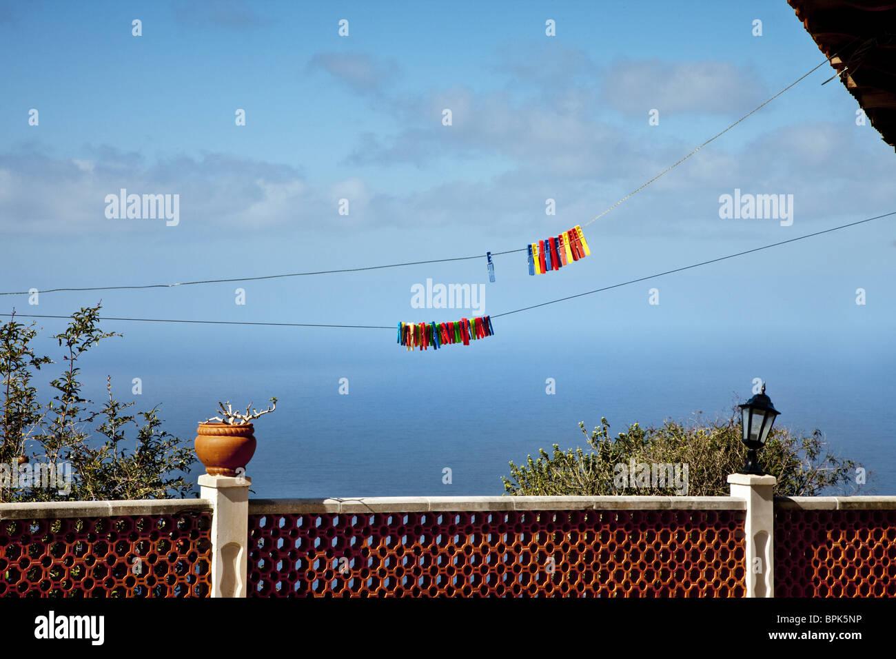 Seaview and clothesline, La Palma, Canary Islands, Spain, Europe - Stock Image