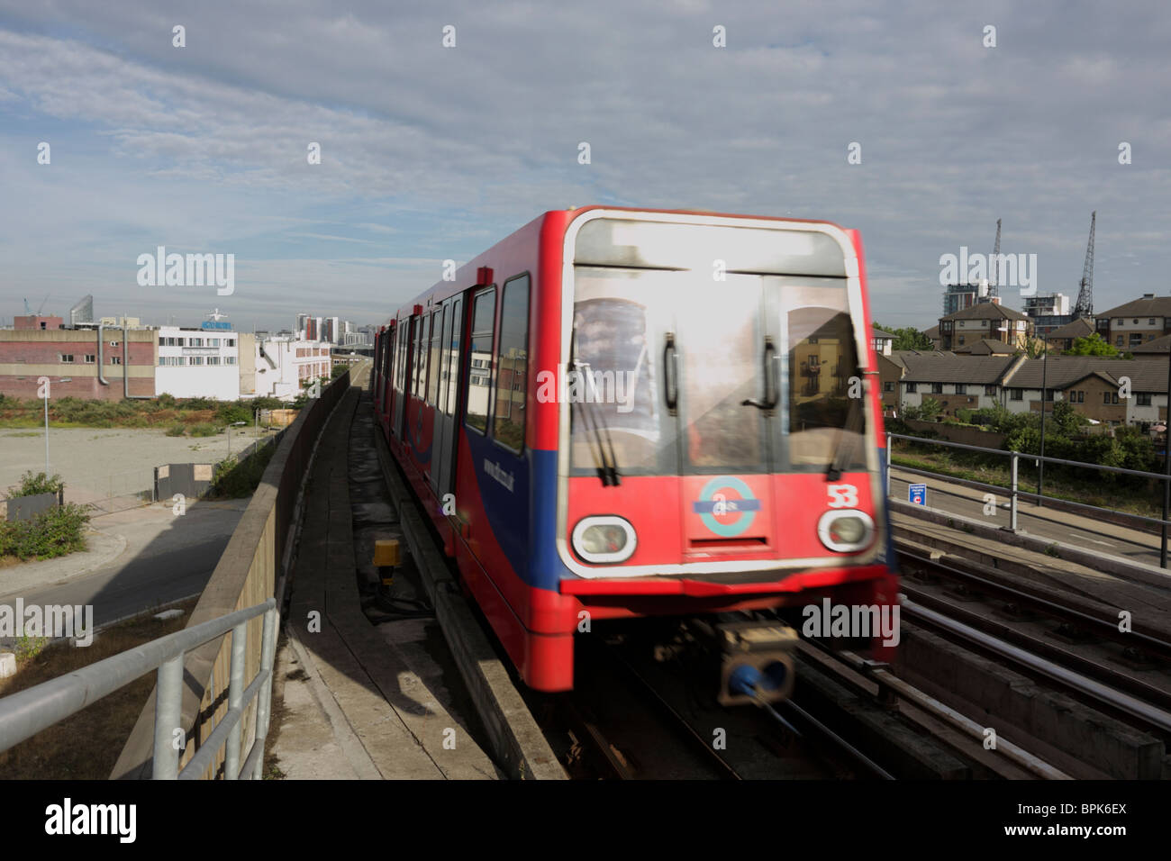 One of London`s many success stories, the Docklands Light Railway  a fully automated transport system. - Stock Image