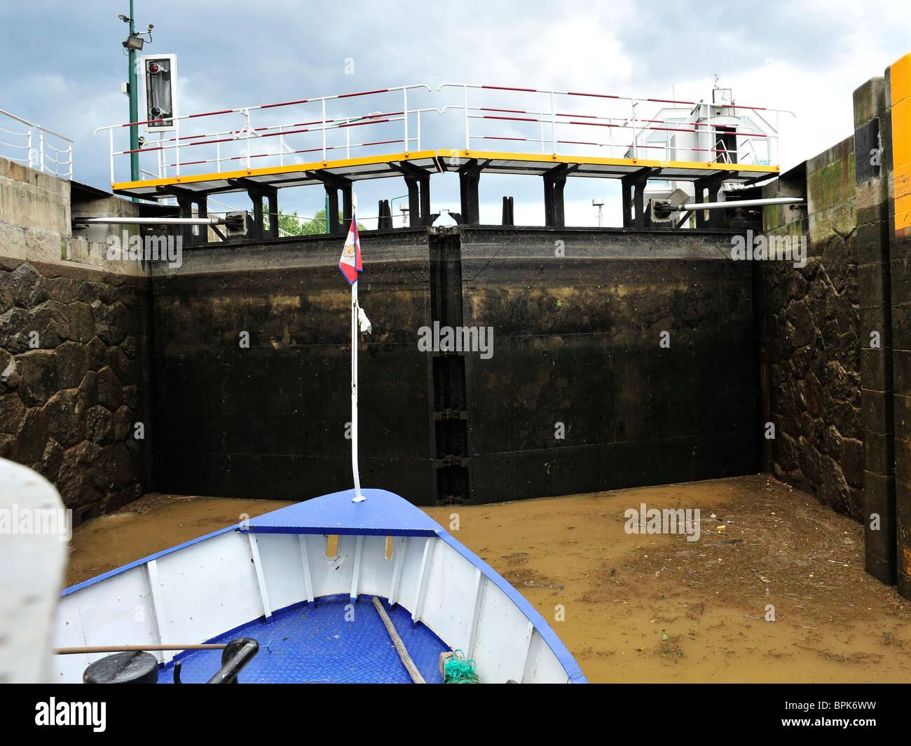 inside a lock on river Vltava, prague - Stock Image