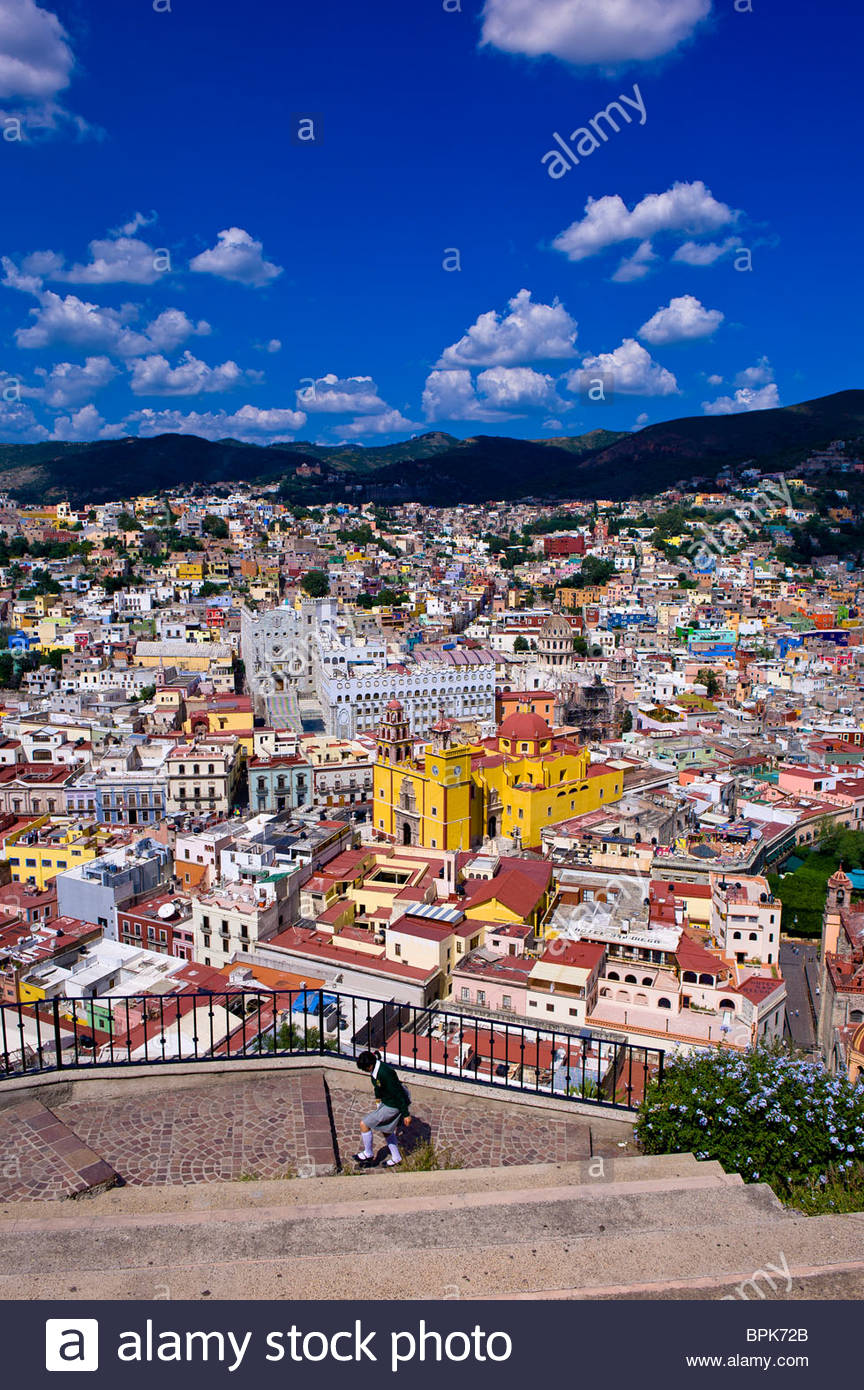 Overview of the colorful city of Guanajuato (from Pipila Monument), Mexico Stock Photo