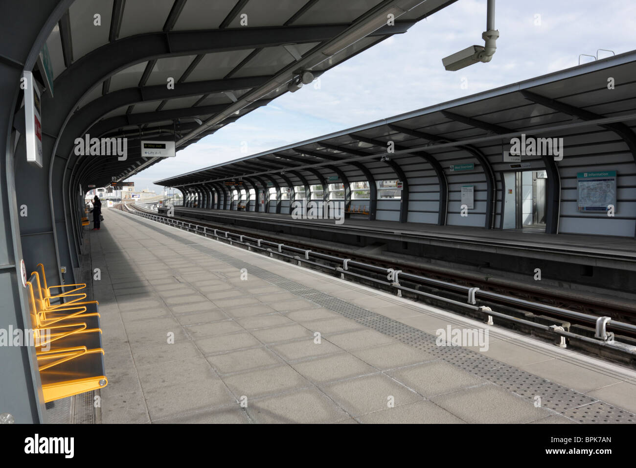 The West Silvertown Station platforms on the Docklands Light Railway system in east London. - Stock Image