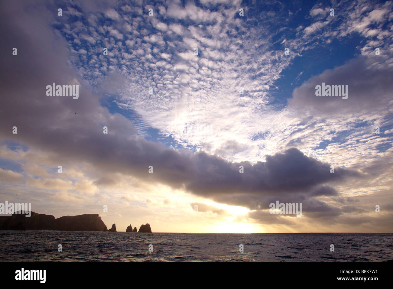 Sunrise off the Snares - Stock Image