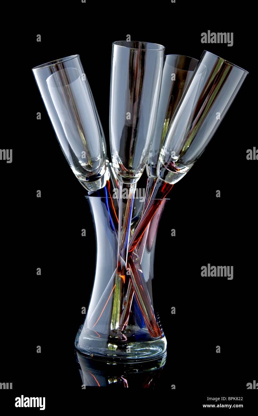This Unique Glass Stemware Are 5 Wineglasses In A Bouquet Type Stock Photo Alamy
