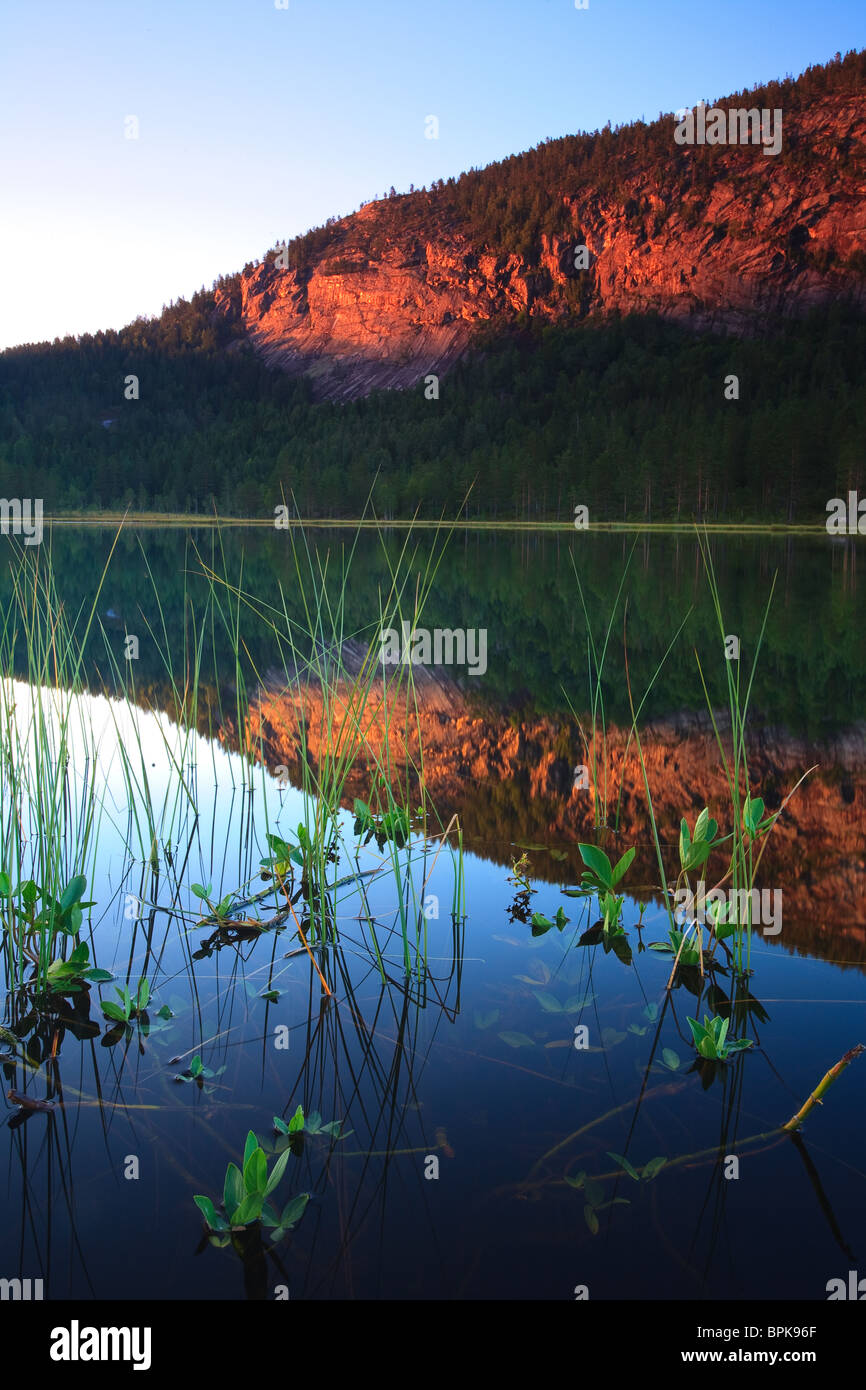 Evening at the lake Andersnattjern and the mountain Andersnatten in Eggedal, Norway. - Stock Image