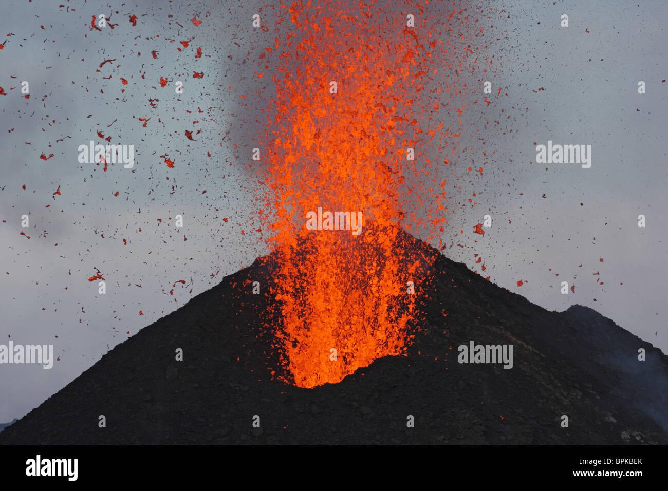 May 10, 2009 - Stromboli eruption, Aeolian Islands, north of Sicily, Italy. - Stock Image
