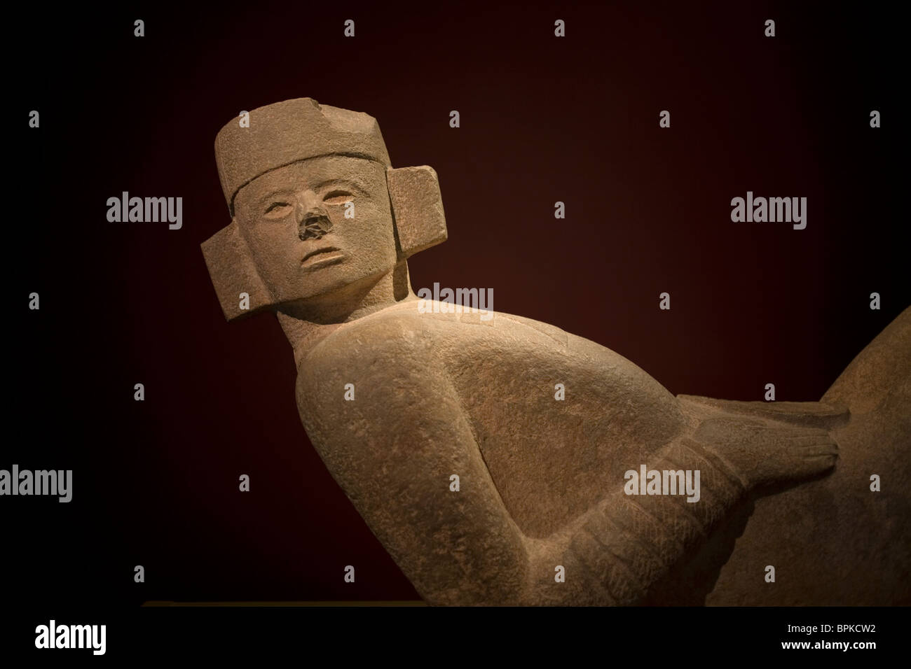 A Chac Mool,a Mayan type of sculpture, from the ruins of Chichen Izta at the Museum of Anthropology and History, - Stock Image