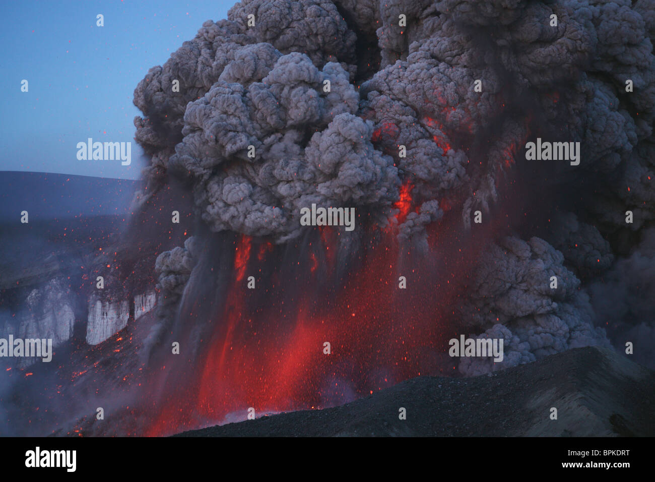May 8, 2010 - Eyjafjallajökull eruption, Summit crater, Iceland. - Stock Image