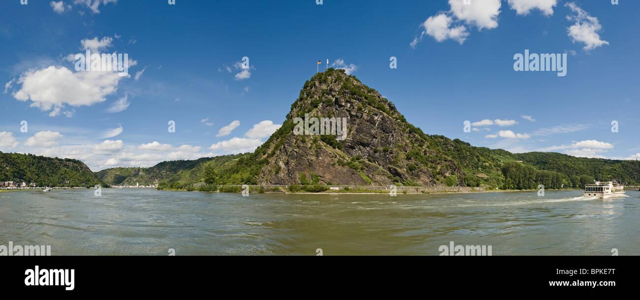 Lorelei Rock above the Rhine River, a UNESCO World Heritage Site, Sankt Goarshausen, Rhineland-Palatinate, Germany, Stock Photo