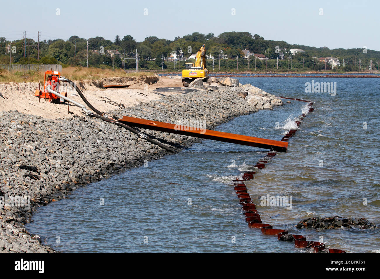 Sea wall repair / reinforcement - Stock Image