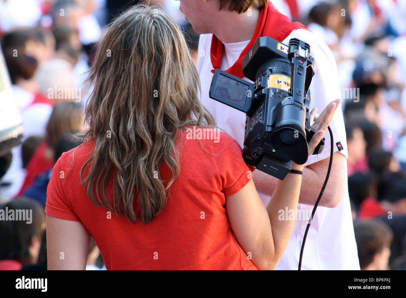 Reporting on the holidays of San Fermin, Pamplona, Navarre, Spain. Stock Photo