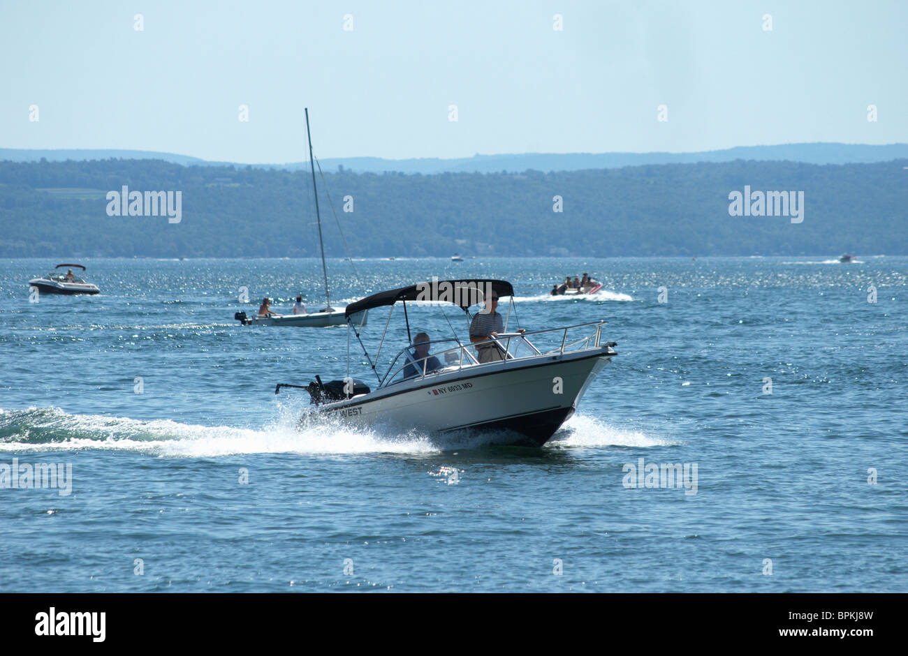 Recreational boaters enjoy Sunday afternoon on Lake Canandaigua, New York. - Stock Image
