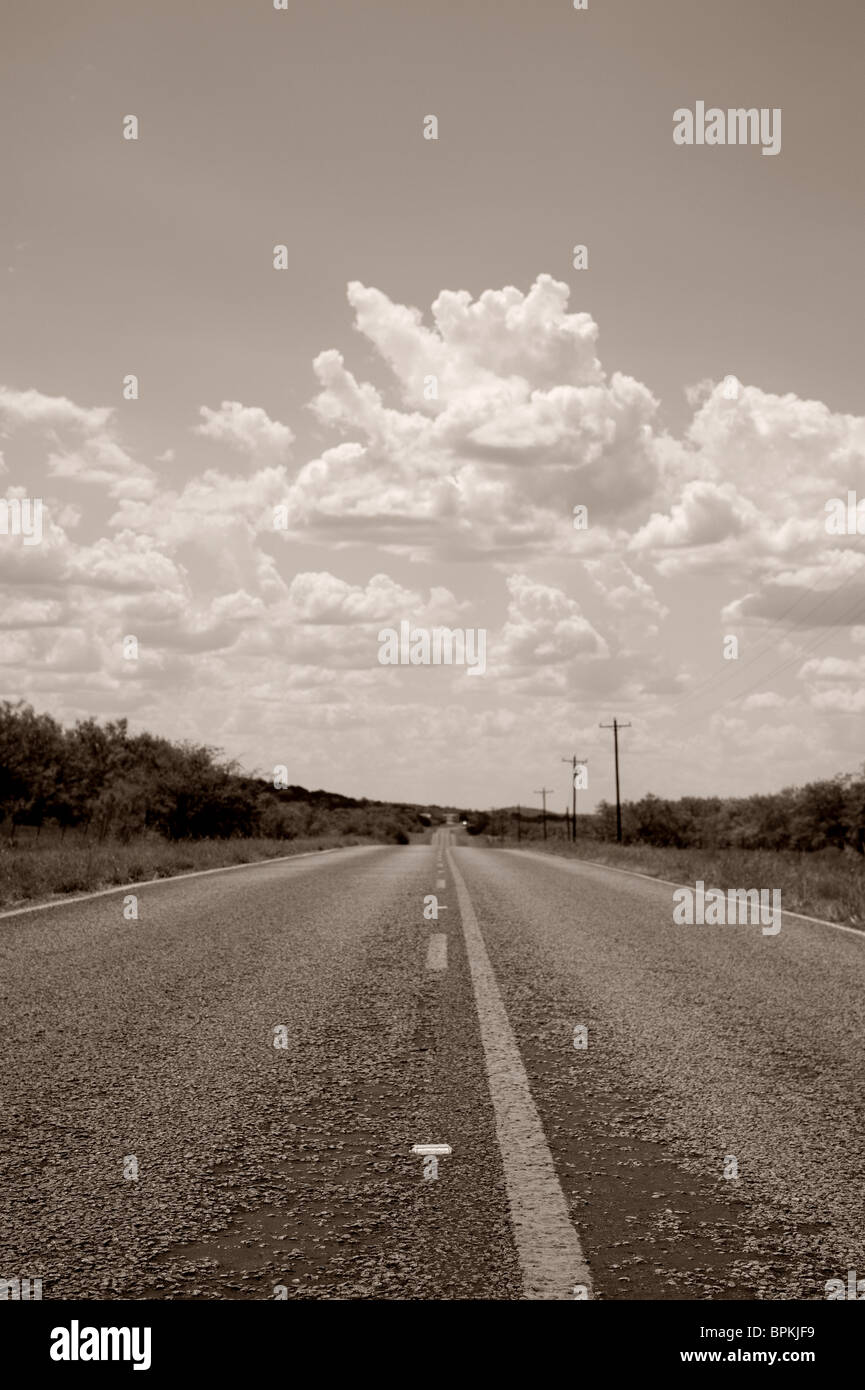 Country Road in Black and White - Stock Image