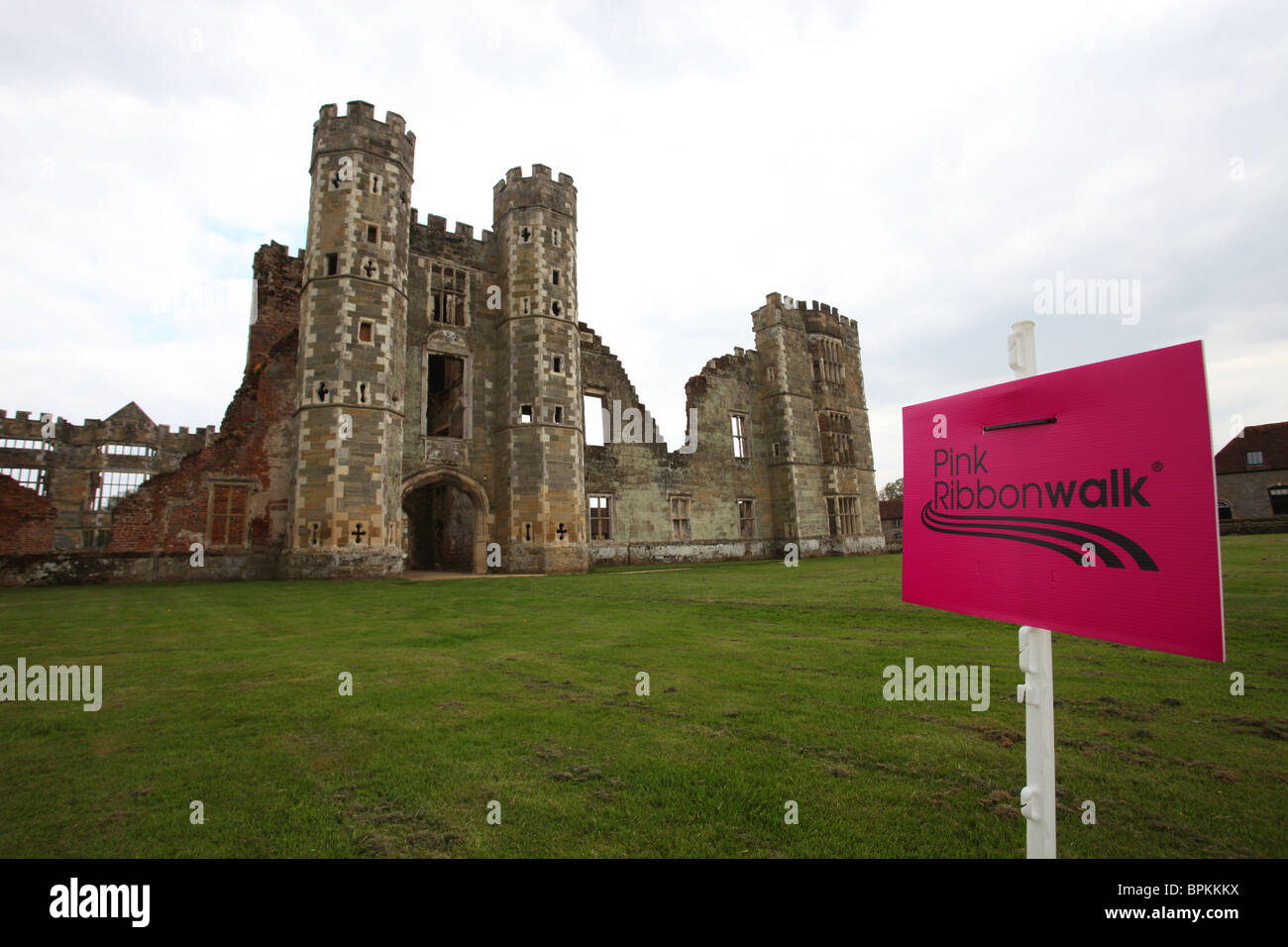 'pink ribbon walk' Cowdray Castle House Midhurst, West Sussex  2010 - Stock Image