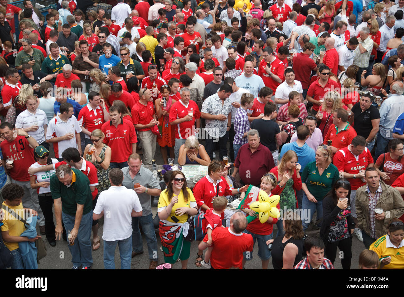 Rugby fans at the outdoor bar outside the Millennium Stadium after Wales - South Africa rugby match in Cardiff, - Stock Image