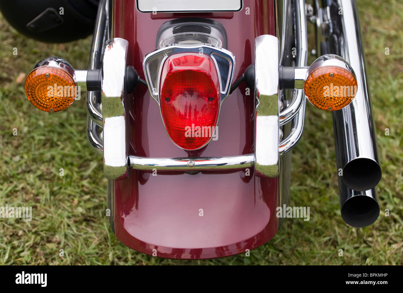 Detail of the rear view on the motorbike. - Stock Image
