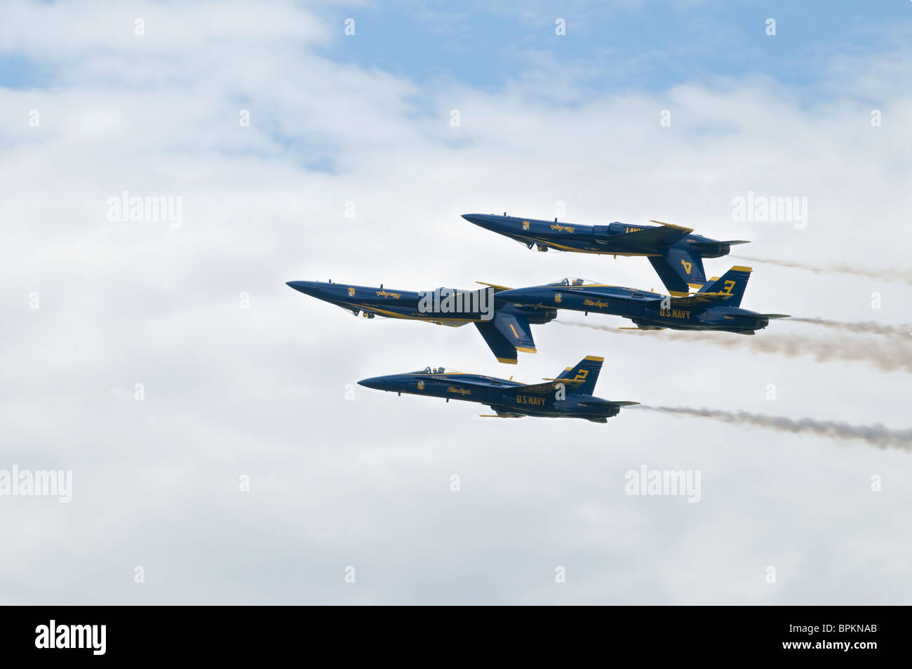 Blue Angels Diamond (Angels 1-4) perform Double Farvel Maneuver (Two up-Two Down) at 2009 Thunder Over Michigan Stock Photo