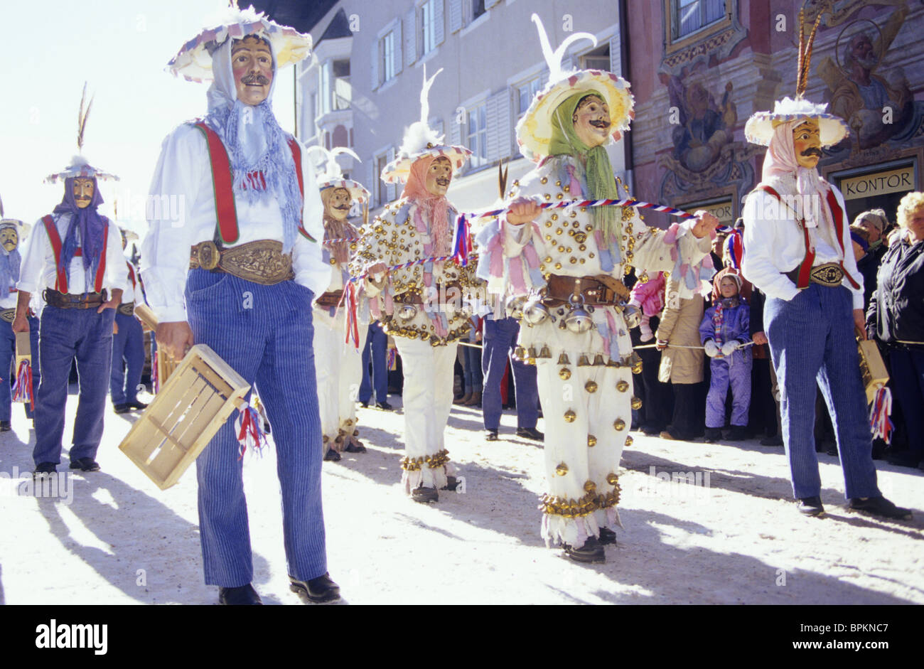 traditional alpine Mardi Gras, Mittenwald, Upper Bavaria, Bavaria, Germany - Stock Image
